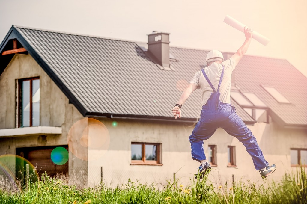 Man leaping because he feels good in business