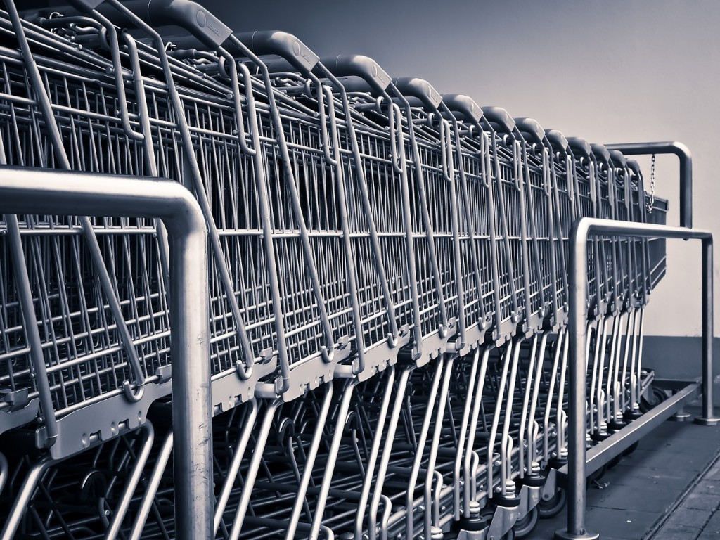 Stack of empty shopping trolleys